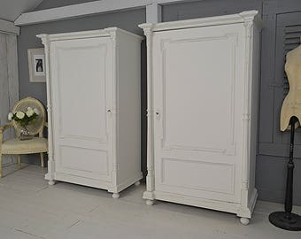 Pair of White Single Door Dutch Shabby Chic Column Wardrobes - FREE UK DELIVERY