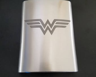 Wonder Woman inspired Etched Flask
