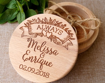 Personalized ring box, wedding ring box, wood ring box, ring bearer box, wedding rings holder, rustic ring box, custom engraved ring box