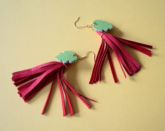 Ethnic tassel earrings, tassel earrings, Earrings red Christmas, Leather long earrings, Tassel colorful earrings, Leather gift for daughter