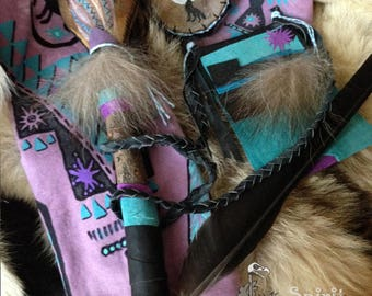 RavenWolf - Shaman's Power Combo - Full Sized Rattle + Mini Pocket Rattle + Fringed Leather Medicine Bag