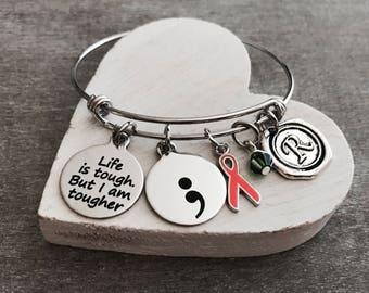 Life is tough but I am tougher, Silver Bracelet, Fighter, Survivor, Cancer, Orange Ribbon, Awareness Ribbon, Cancer Survivor, Leukemia