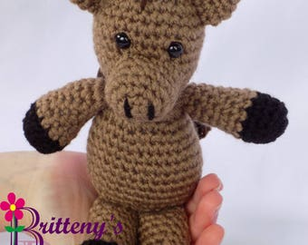 Horse Stuffed Animal / Brown Horse Stuffed Animal / Crochet Brown Horse Stuffed Animal / Crochet Horse Plush Toy / Crochet Brown Horse Pal