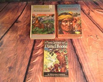 3 Historical Books - 1950s - Gettysburg by Mackinlay Kantor, Geronimo by Jim Kjelgaard, Daniel Boone by William O Steele