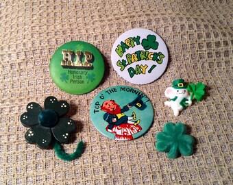 Set of 6 St Patrick's Day Pins -  Circle Button, Handmade Pins -  Leprechaun, Shamrock, Festive Mouse, HIP Honorary Irish Person