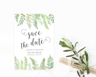 Fern Save The Date, Watercolor Greenery Wedding