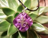 Amethyst Orgone Pendant - Gecko - Handmade Healing Jewelry - Crown Chakra Balancing Lightworker Jewelry - Small