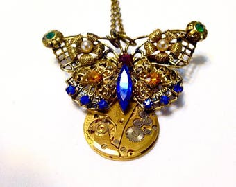 Steampunk Necklace Butterfly Cut Glass Stones Steampunk Jewelry Victorian Steampunk Industrial Urban Filigree Cosplay Fantasy