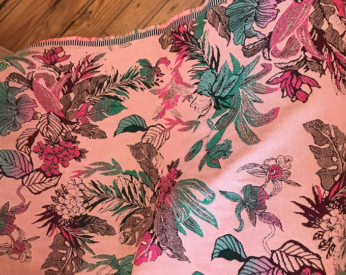French Brocade: Teal, Hot Pink, and Burgundy on Light Pink