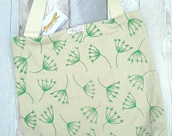 Organic cotton tote bag, natural, green, nature, leaves, plants, gardening, shopping, screenprinting, cream, gift, zipped pocket