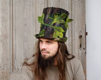 Unique felted top hat, woodland hat, forest druid wizard hat, unusual men cosplay fantasy hat, elvish hat, nature inspired, tree trunk, OOAK