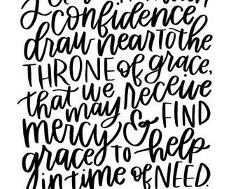 "Throne of Grace - Hebrews 4:16 - Printable Scripture Art - Instant Download - Inlcudes 8X10"" and 11X14"" sizes"
