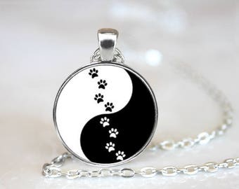 Paws Yin Yang Pendant Necklace Jewelry Handcrafted Made to Order One Inch Pendant