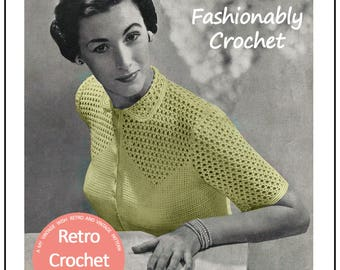 Crochet Blouse 1950s Vintage Pattern - PDF Crochet Pattern - PDF Instant Download
