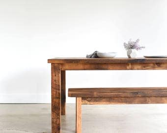 Farmhouse Kitchen Table / Reclaimed Wood Plank Dining Table