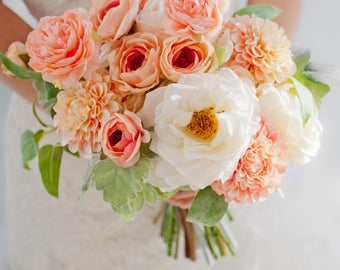 Custom Peach Silk Flower Bouquet, Artificial Bouquet, Coral Blush Bridal Bouquet, Rose Dahlia Ranunculus Real Touch Flowers, Wedding Bouquet