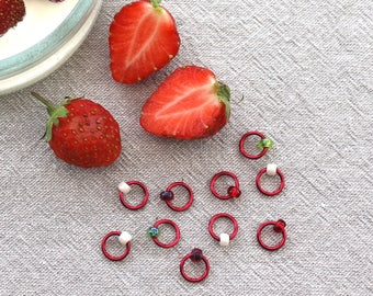 Stitch Markers - STRAWBERRIES & CREAM - notions, knitting markers, ring stitch markers, knitting tools, Right-O knitting stitch markers