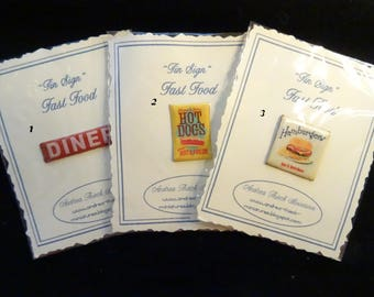 "Miniature ""Tin"" Signs - Fast Food Theme - 1/12 scale"