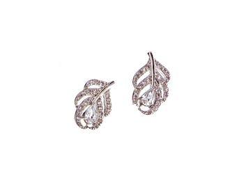 CZ leaf earrings,Petite CZ earrings, Crystal earrings, Wedding earrings, Prom earirngs, Bridesmaid earrings, Everyday earrings, Silver