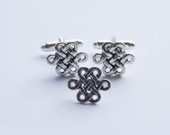 Celtic Knot Cufflinks, Irish Cufflinks, Scottish Cufflinks, Celtic Cufflinks, Knot Cuff links and Tie Pin, Gift for Men