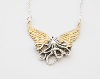 Steampunk Octopus Necklace, Flying Octopus Necklace, Steampunk Necklace, Octopus Necklace, Tentacles Necklace, Octopus Jewelry