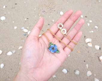 Anemone Necklace Violet , Flower Necklace , Anemone flower
