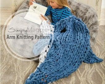 Arm Knitting Pattern // Arm Knit Dolphin Sleep Sack // Animal Blanket // Knitting Pattern // Child's Blanket Pattern // Simply Maggie