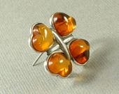 Sterling Honey Baltic AMBER Brooch, Vintage Lucky SHAMROCK Brooch, Clover Heart Love Token Pin, Good Luck Jewelry c.1980's, Gift for Her