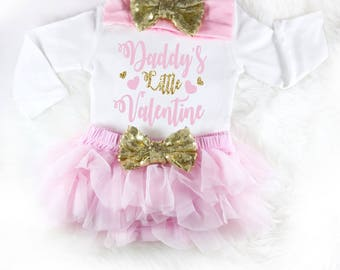 baby valentines outfit baby valentines day daddys little valentine pink baby outfit first valentines day 1st