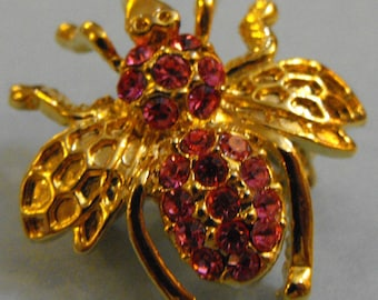 Pink Chatons on Fly Brooch or Pendant