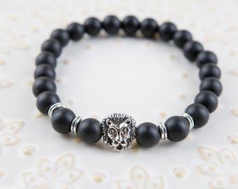 Silver Lion  & Matt black stones beaded Bracelet 8mm beads
