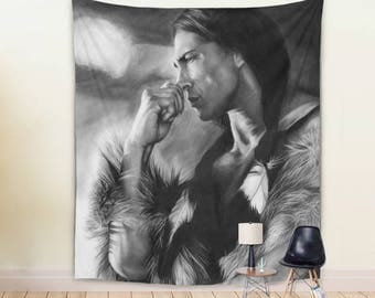 WALL TAPESTRY, Native American Tapestry, black and white large wall decor, native tapestry, Handsome Native American Tapestry, home decor