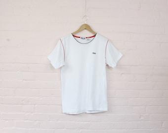 90s White Fila Tennis Shirt · Fila Tee Shirt · 90s Fila TShirt · 90s Fila Top · 1990s Fila Shirt · White 90s Tennis Shirt · 1990s Fila · L