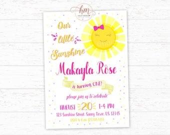 Sunshine Birthday Invitation, Sunshine Party, Summer Birthday Invitation, Our little Sunshine, Sunshine Invitation, PRINTABLE FILE