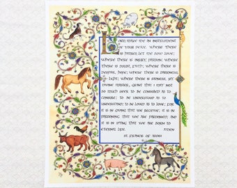 Prayer of St. Francis of Assisi - Calligraphy Art - Religious Wall Art