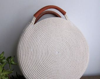 Round Market Bag with Recycled Leather Handles || Cotton Rope Purse - White Summer Market Bag || Circle Basket Bag