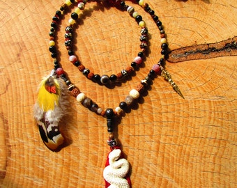 Shamanic mala 108 beads, totem snake bones, feathers, agate, fire opal and Ethiopia