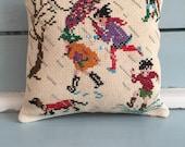 Handmade Pincushion Children Spring Rain Dachshund Vintage  Sewing Gift Striped  Fabric