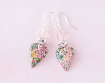 Small Tin Heart Earrings with Floral Vintage Tin and Light Pink Glass Beads, Flower Heart Jewelry, 10th Anniversary