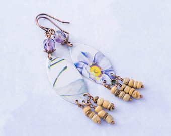 Lavender Tin Flower Chandelier Earrings with Purple Glass Beads and Antique Copper, Purple Flower Jewelry
