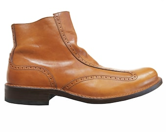Moma vintage Leather Ankle Boot for Men, cognac color, 45