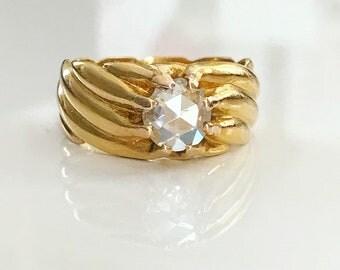 Edwardian French Rose Cut Diamond Gold Ring