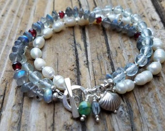 10% OFF SALE, Aquamarine Bracelet with Hill Tribe Silver, Labradorite and Pearl, White Pearl Bracelet and Sterling Silver, Garnet Bracelet