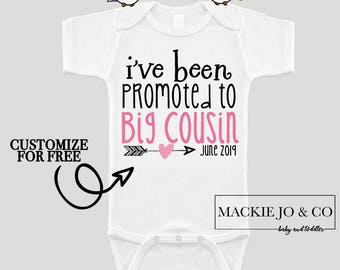 I've Been Promoted to Big Cousin Future Big Cousin Baby Bodysuit Customize Color and Date Baby Announcement