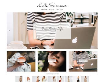 "Responsive Wordpress Theme ""Late Summer"" // Blog Design Instant Download Template"