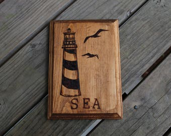 Wood Burned Plaque: Lighthouse and Gulls
