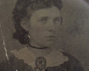Simply Irresistible - Original 1860's Pretty Young Woman With Pierced Ears Tintype Photograph - Free Shipping