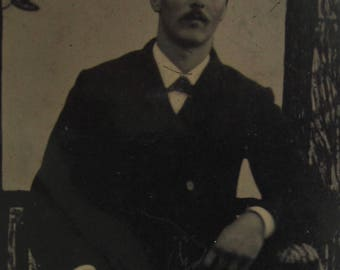 An Air Of Confidence - 1880's Handsome Mustached Man Tintype Photograph - Free Shipping