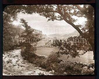 Vintage Magic Lantern Slide Rural River Scene Surrounded by Trees