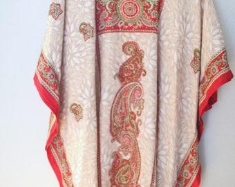 vintage dashiki red tan gold  print bohemian tunic caftan dress